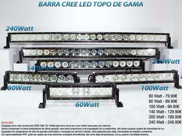 Conjunto Barra Topo de Gama Cree Led Iluminação Led Entrega 24H