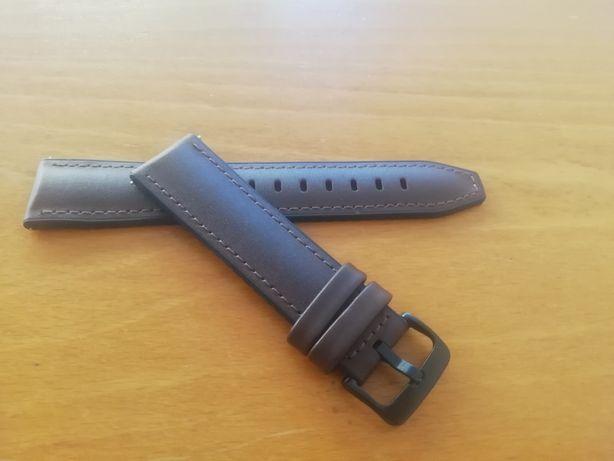 Bracelete/Correia em pele/couro, silicone 22mm (Novo) castanho escuro