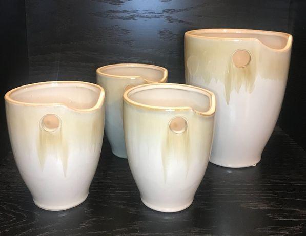 ceramiczne kremowo-beżowe osłonki na doniczki - komplet 4 szt.