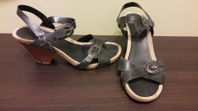 Sandały Clarks roz.40/uk6,5 czarne skórzane