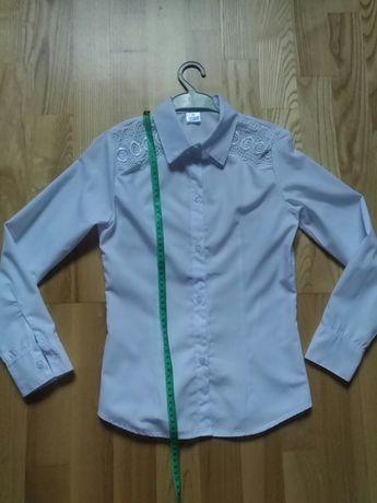 Блузка - рубашка школьная с красивым кружевом 146 размер