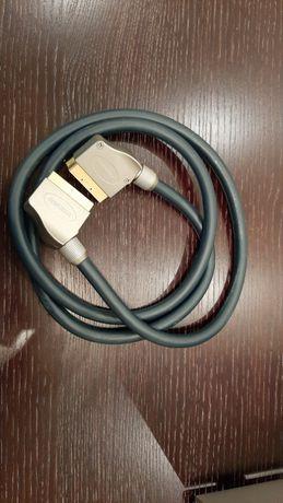 Kabel SCART / EURO AV Thomson, 1,5m, metalowe złącza