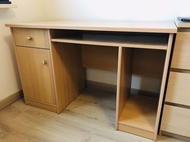 Solidne biurko 120cm x 56cm, h=75cm, zadbane, kolor buk