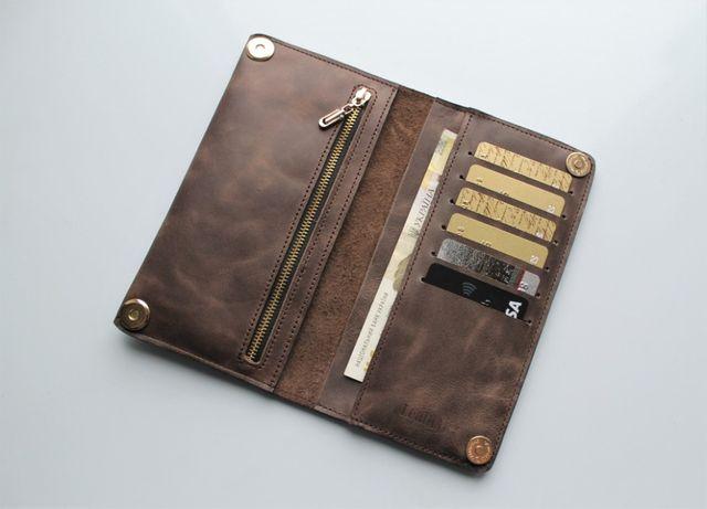Мужской кошелек портмоне из натуральной кожи коричневый, черный.