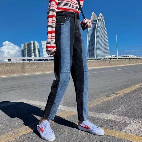 Тренд! ASOS тёмные мом джинсы 2в1 джинси скинни