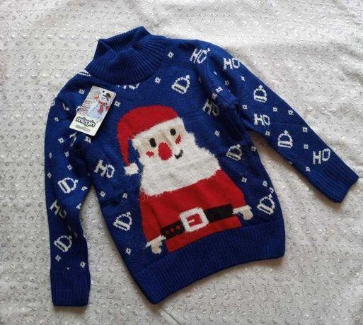 Новогодний свитер на мальчика синий Санта 6-7л
