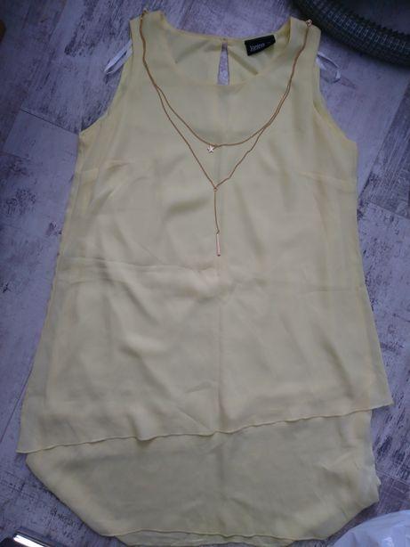 Żółta letnia sukienka z łańcuszkiem r. 38, założona tylko raz