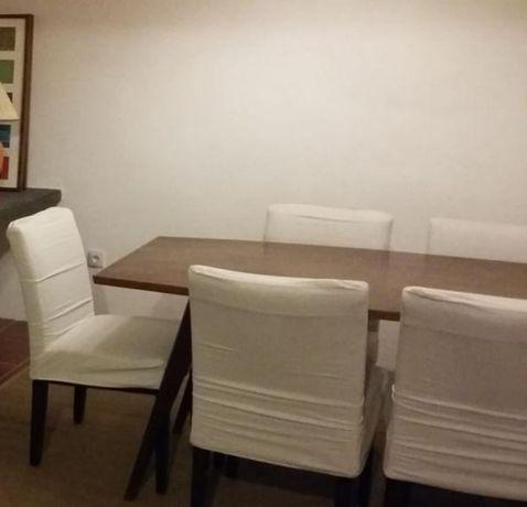 4 Cadeiras de Mesa de Jantar em Pele com Forras