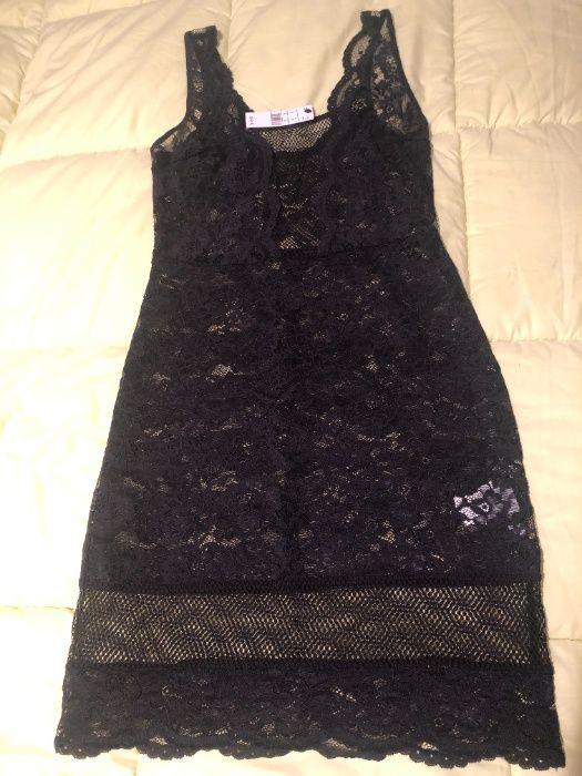 Camisa de dormir em renda - preta Arroios - imagem 1