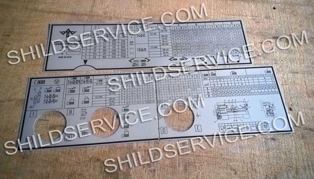 Станок 1В62Г. Таблички, шильды, таблица резьб и подач