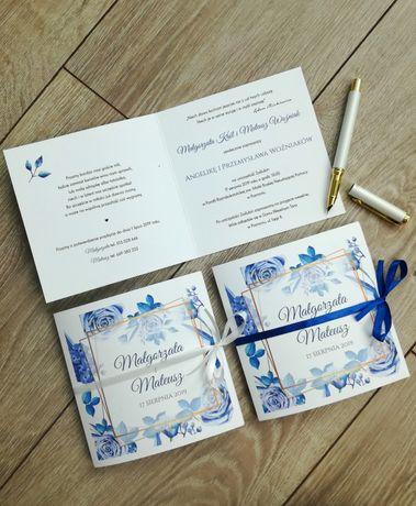 Zaproszenie ślubne kwadratowe z motywem chabrowym