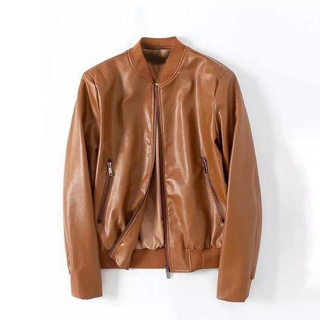 Куртка бомбер женская демисезон М искусственная кожа, коричневая