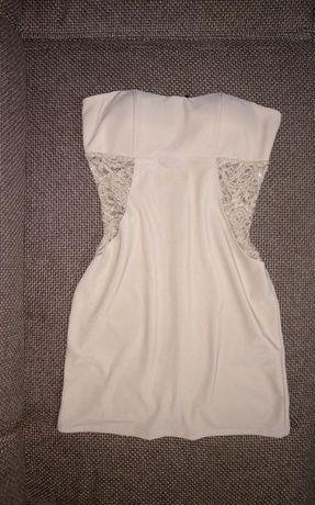 NOWA sukienka z KORONKĄ beżowa beż -mini bez ramiączek- roz. S/M 36/38