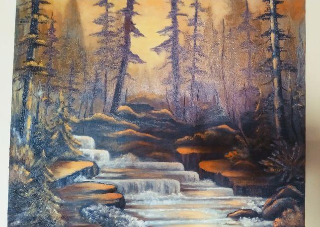 Картина холст масло 40х50 пейзаж лес закат