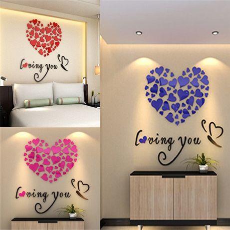 "Наклейка 3D на стену, мебель ""Сердце. Loving you"" любовь, романтика"