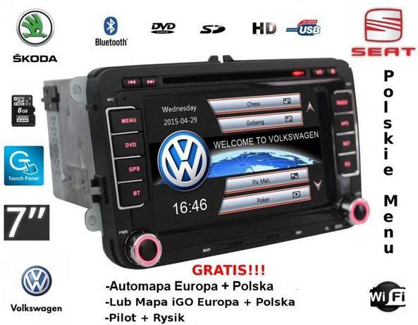 Radio Nawigacja GPS 7' BT VW Passat B6 B7 CC Touran Golf 5 6 2Din FV