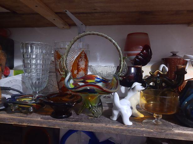 Szkło porcelana wazon PRL