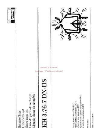 Katalog części przetrząsacz DEUTZ FAHR KH 3.76