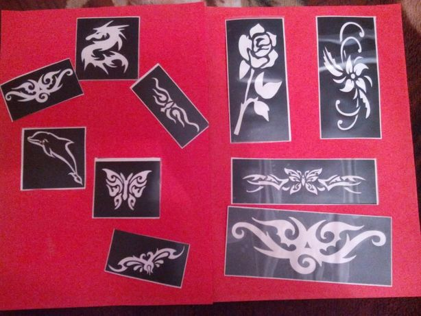 szablony do tatuażu brokatowego, z henny