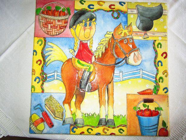 Telas menina equitação e fada