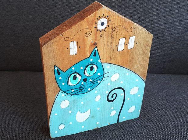 Kot Koty malowany na drewnie Upominek Prezent Dzień Matki Dekoracja