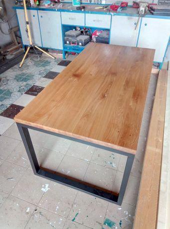 Loftowy stol industrialny stół biurko lity dab stolik olejowany loft