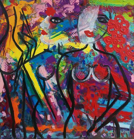 KOBIETA WARIACJA obraz olejny duży 80x80 KatarzynaArt