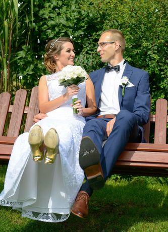 Koronkowa suknia ślubna rozm. S-M
