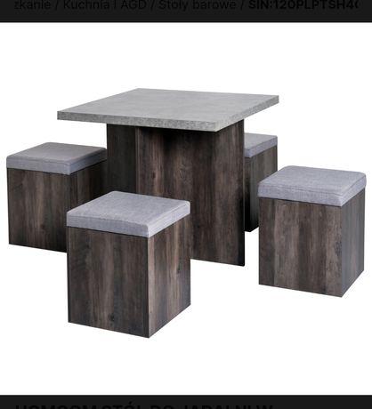 Zestaw mebli do jadalni stół plus 4 pufy