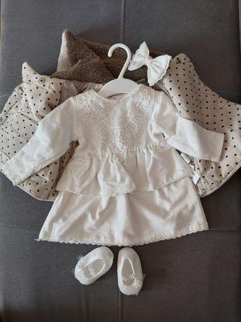 Ciepły komplet na chrzest 68. Sukienka, nowy płaszczyk Zara.