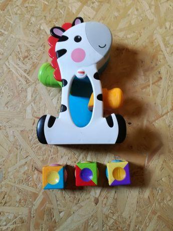 Fisher-Price, Zebra, ruchome klocki, zabawka interaktywna