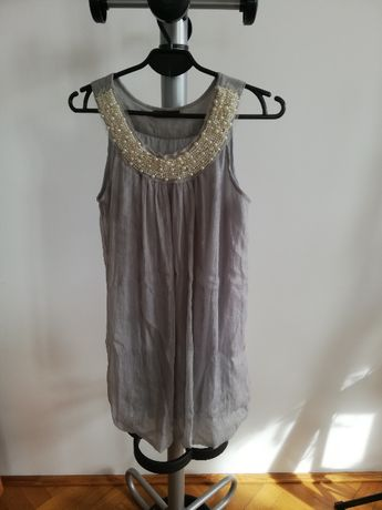 Suknia, sukienka letnia, kolor gołębi, ozdoby perełki,rozmiar One Size