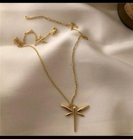 Łańcuszek srebrny pozłacany próba 925 zawieszka ważka dzień kobiet