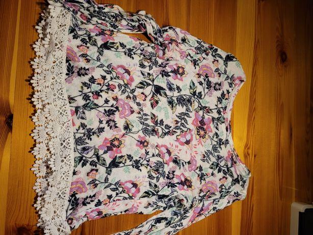 Cieniutka bluzeczka sweterek z koronką w kwiatki New Look S