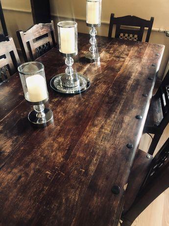 Antyczny drewniany stół z 6 krzesłami metalowe elementy