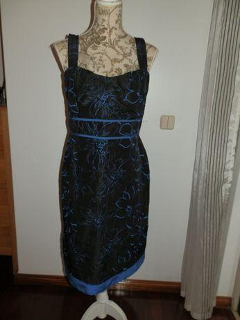 Vestido castanho e azul tamanho L NOVO