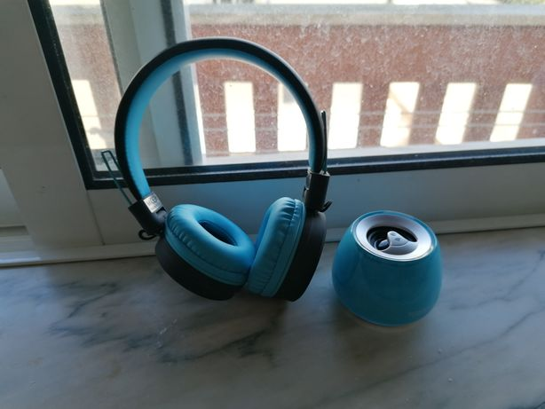 Auscultadores Bluetooth+ Coluna Bluetooth Portátil