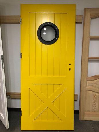 Drzwi drewniane z bulajem żółte LOFT