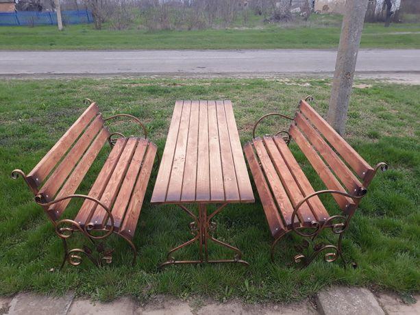 Комплект садовой мебели 2 лавочки +садовый стол/лавочки/стол/боковины.