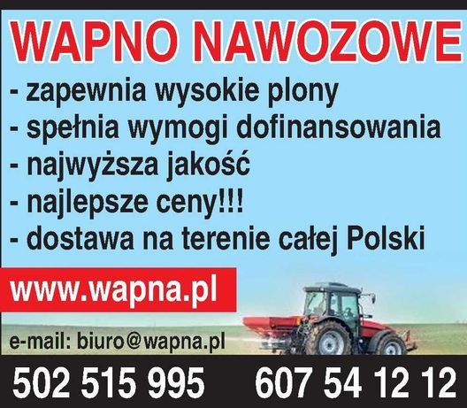 Wapno Nawozowe,Tlenkowe, Węglanowe, Magnezowe, Kreda-HURT POLSKA I UE*