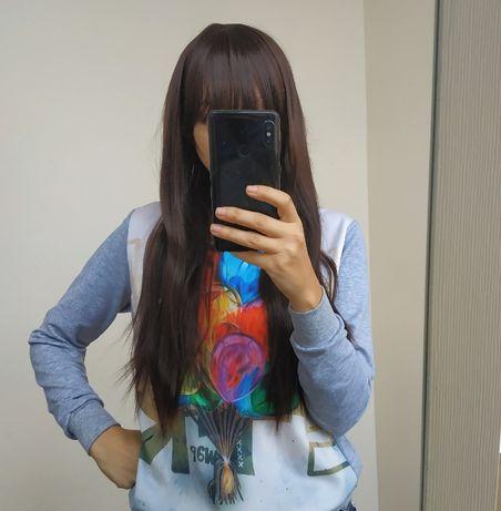 парик прямой коричневый с прямой челкой 70см термо
