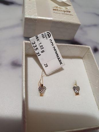 Złote kolczyki dla dziewczynki firmy MAGAR chrzest, urodziny