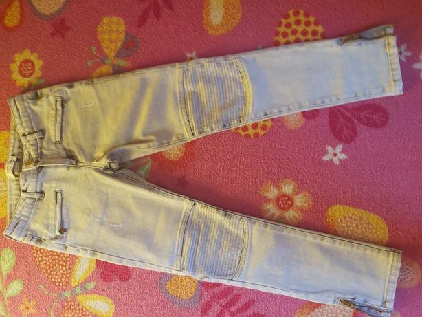 Zestaw 2szt spodnie szare jeans reserved i różowe w serca HM 134/140