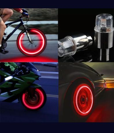 Luzes para rodas, carros, motas, bicicleta.