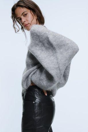 Sweter zara wełna moher
