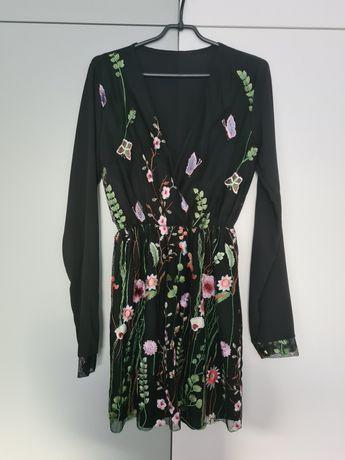 Tiulowa sukienka w kwiaty S/M