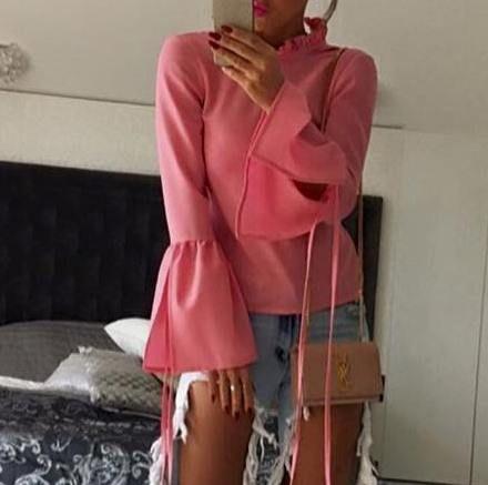 LEIMANN bluzka ze stójką falbany różowa 36 S
