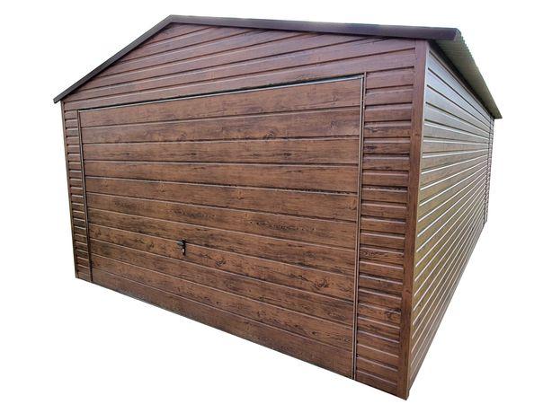 Garaż Blaszany 4x5 Wzmocniony drewnopodobny Panel poziomy Blaszak 4x6