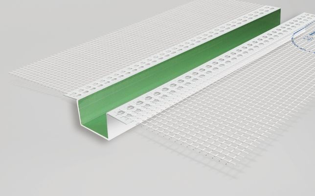 Рустовочний профіль ПВХ з сіткою, деформаційний профіль, руст Vertex