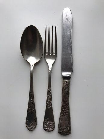 Набор столовый, ложка, вылка, нож, серебро мельхиор СССР